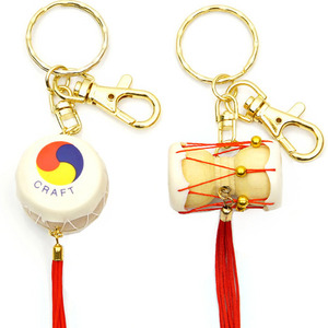 Korean Traditional Miniature Drum Key Rings (10pcs) 한국 민속 장구+북 열쇠고리(10개묶음)