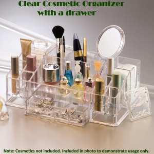 Transparent Cosmetic,Makeup, and Beauty Tools Organizer with a drawer(L)  투명 화장품향수 보관함(대)